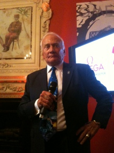Buzz Aldrin speaking at Soho House during the London Olympics