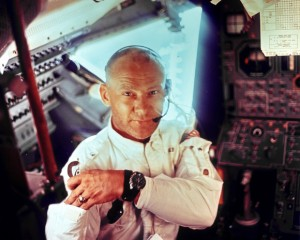Buzz Aldrin wearing his Omega Speedmaster on board Apollo 11
