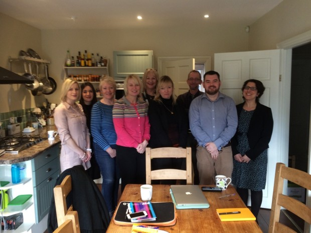 RunAClub team last month in Sally's kitchen in Wiltshire - you don't have to be blonde but it helps!
