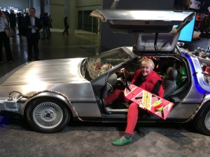In a De Lorean on Back to the Future Day with a hover board - awesome!
