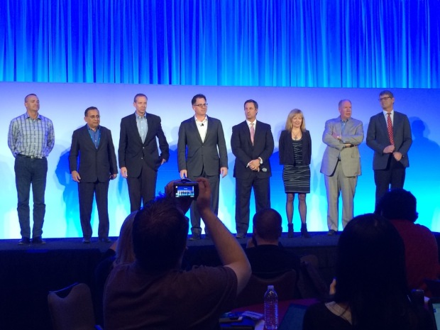 Dell senior team on stage during the press conference, answering questions from the audience